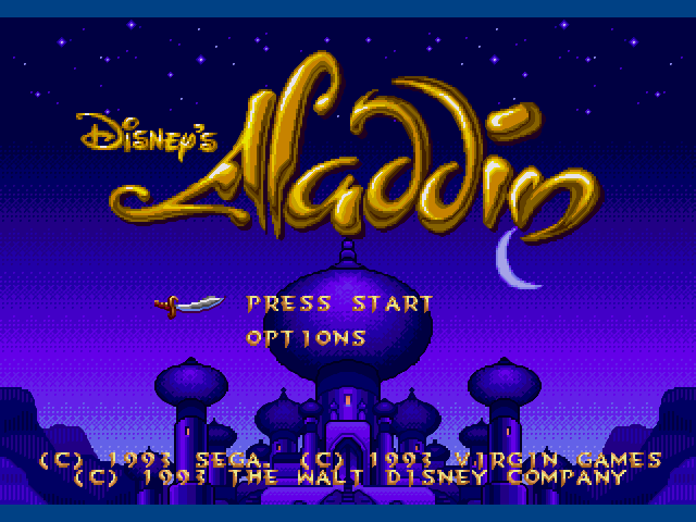 Aladdin game main menu